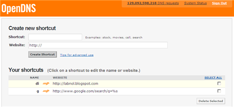 OpenDNS Browser Shortcuts