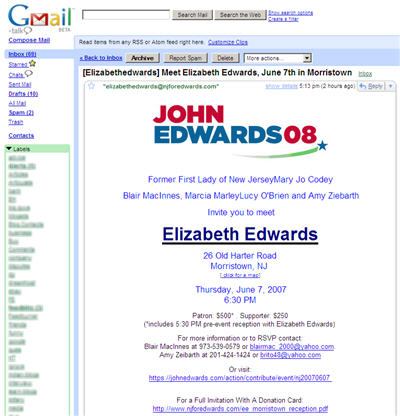John Edward for President - Spam