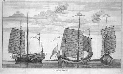 Vaisseaux chinois de la mer du Sud ou mer Pacifique Gravure ancienne