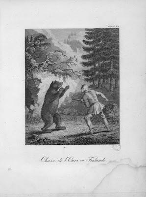Chasse de l'ours en Finlande Gravure ancienne