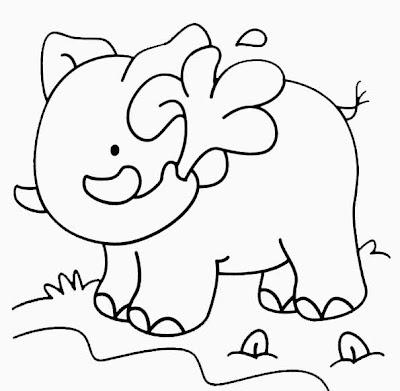 Dessin éléphant à découper, peindre ou colorier