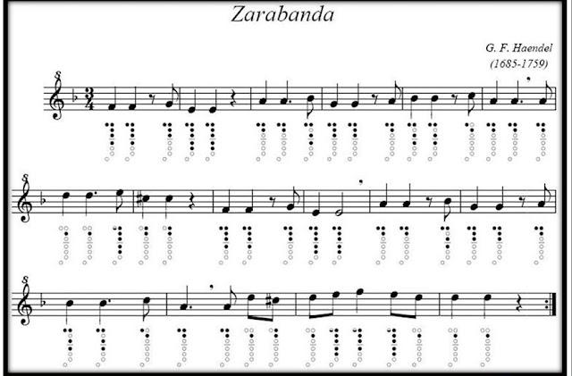 Partituras de Zarabanda de Haendel pinchando aquí en la imagen de la partitura