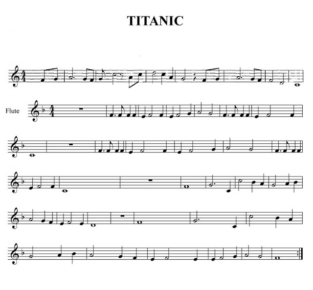 Partituras Melódicas de Titanic (sax, flauta, violin, trompeta, clarinete...) en fa mayor con si bemol