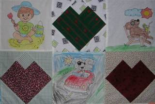 closeup of crayon quilt