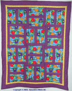 H-block quilt with frog fabric