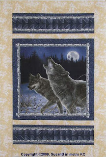 howling wolves quilt panel