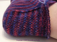 closeup of eye of partridge sock heel