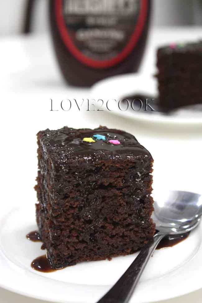 Eggless Chocolate Cake With Hershey S Syrup