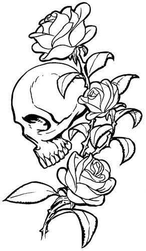 Wzory Tatuaży Czaszki Czaszka I Długa Róża