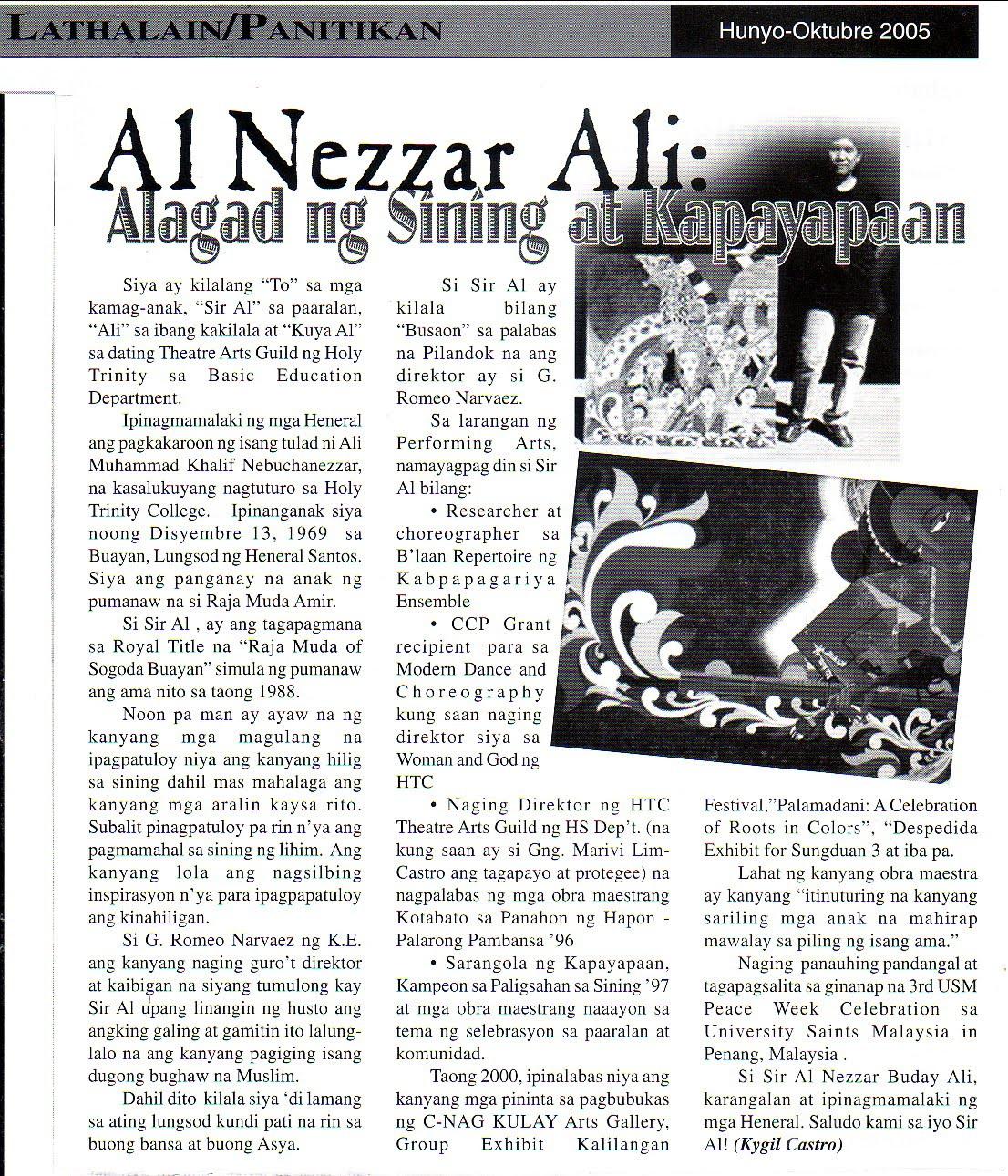 al-nezzar ali: PATCA, Imao, Art Activities & Write Ups