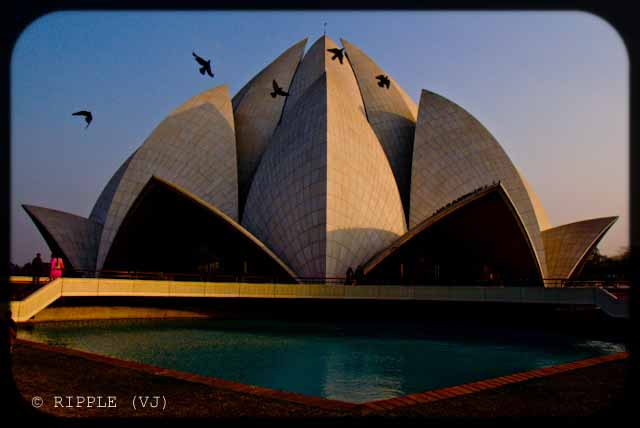 A good place to visit in Delhi : Lotus Temple @ Nehru Place, Delhi, INDIA: Here are some some miscellaneous shots of Lotus Temple. The construction of the temple is similar to that of the Opera House in Sydney. The temple always looks mesmerizing. However, different light conditions have different effect on the way the temple appears.: Posted by Ripple (VJ) on PHOTO JOURNEY @ www.travellingcamera.com : ripple, Vijay Kumar Sharma, ripple4photography, Frozen Moments, photographs, Photography, ripple (VJ), VJ, Ripple (VJ) Photography, Capture Present for Future, Freeze Present for Future, ripple (VJ) Photographs , VJ Photographs, Ripple (VJ) Photography : A flock of birds taking a flight in front of the temple.@ LOTUS TEMPLE, Nehru Place, Delhi, INDIA
