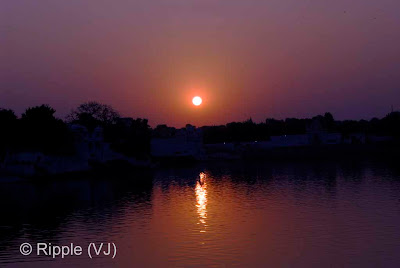 Posted by Ripple (VJ) : Pushkar Night View: Sunset View from Jaipur Ghat, Pushkar
