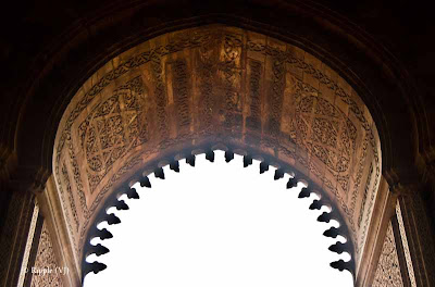 Posted by Ripple (VJ) : A Foggy Day @ qutub Minar, Delhi : Beutiful designs on the top of a huge door in Qutub Campus...