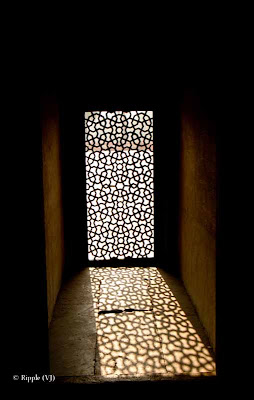 Posted by Ripple (VJ) :  Humayun's Tomb, Delhi : Beautiful light pattern The actual tomb of Humayun - the second Mughal emperor.Side view of Humayun's TombEntry for main Tomb...Series of pillars @ Humayun's Tomb, DelhiHumayun's Tomb is very well maintained...Light passing through a window @ Humayun's Tomb, DelhiBeautiful light pattern created by jaali in window @ Humayun's Tomb, DelhiLight pattern created by window light in a pillar @ Humayun's Tomb, DelhiLight pattern inside water body in front of Humayun's Tomb, Delhicreated by jaali in window @ Humayun's Tomb, Delhi