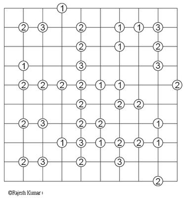Logic Printable Puzzle: Slalom