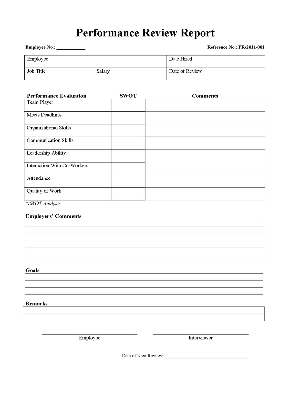 Employee Review Template google search and free printable on – Free Performance Review Templates