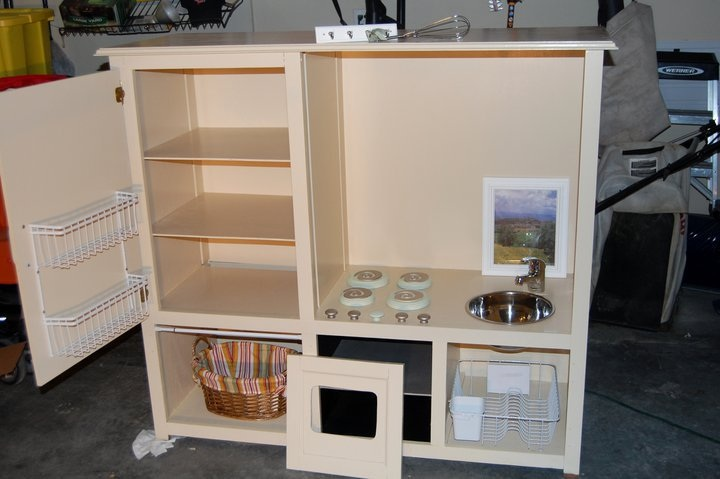 HeyDay Living Play Kitchen Repurposed Entertainment Center