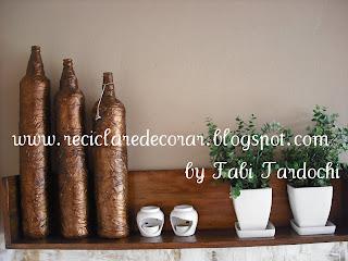 reciclagem de garrafa pet, reciclagem de garrafa de vidro, reciclar e decorar, garrafas altas, Fabiana Tardochi, blog Reciclar e Decorar