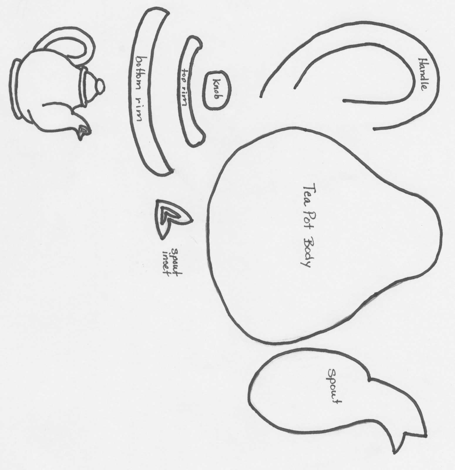 This is a graphic of Exceptional Teapot Template Printable
