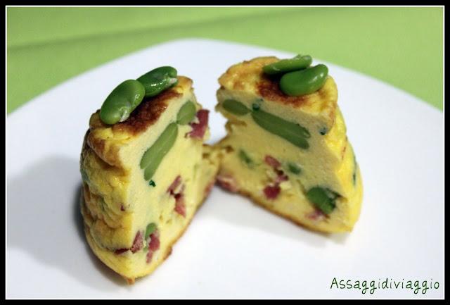 Sformatini di uova, fave e salame