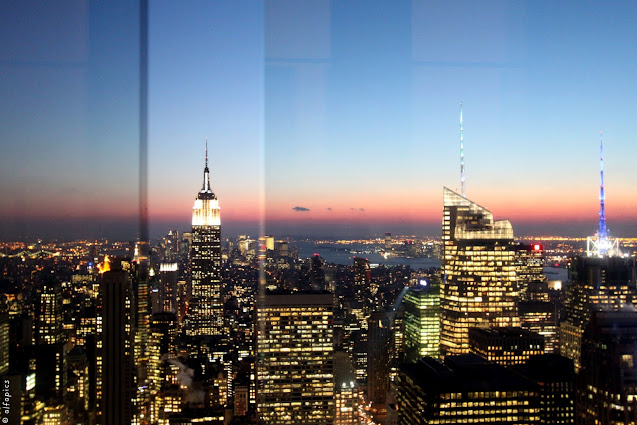 Empire state building e tramonto visti dal Top of the Rock-New York