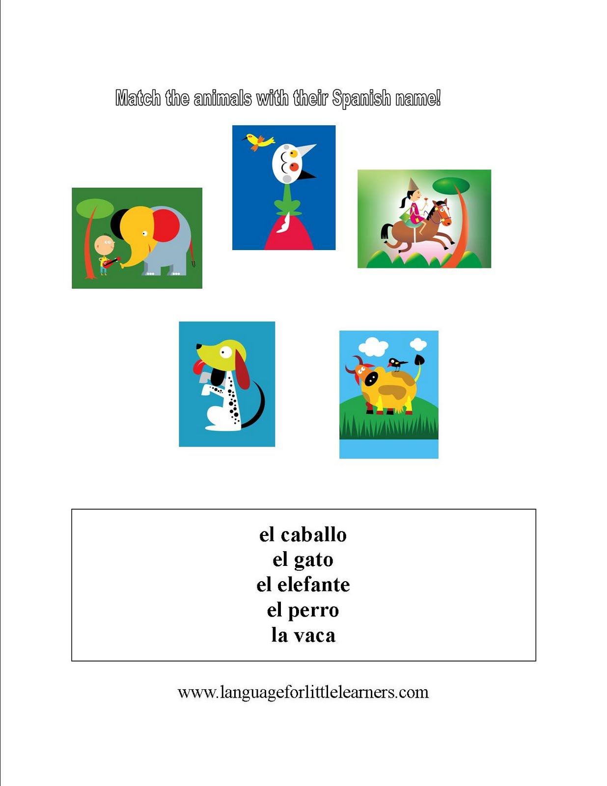 Spanish For Little Learners Worksheet For Learning Animal