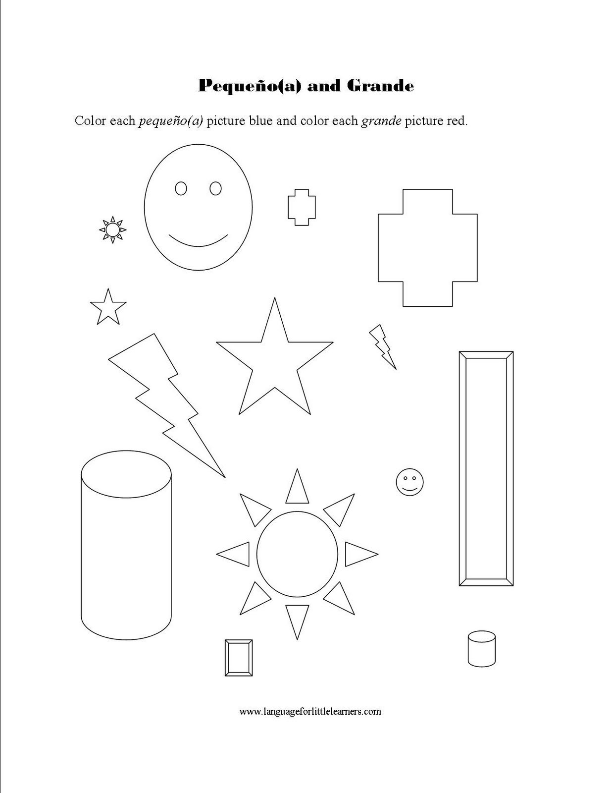 Language For Little Learners Small And Big Worksheet In