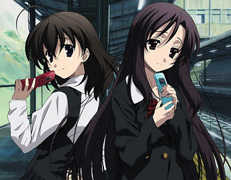 la bellísima Kotonoha a la derecha y Sekai a la izquierda