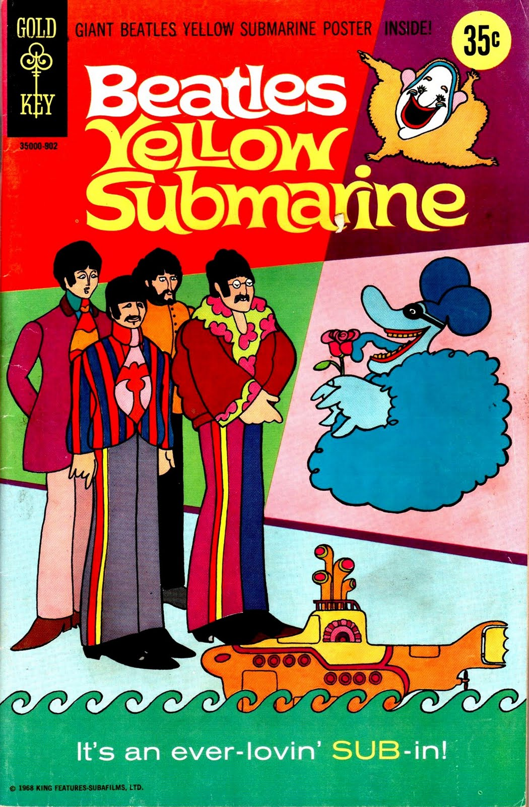 patrick owsley cartoon art and more yellow submarine gold key comic cover poster. Black Bedroom Furniture Sets. Home Design Ideas