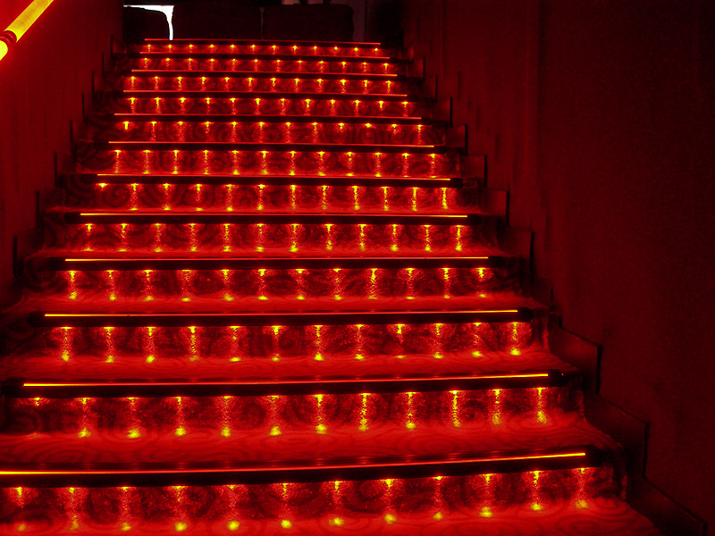 steps lit up with red LED