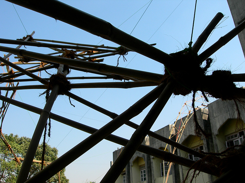 bamboo structure for building workshop in architecture school in mumbai