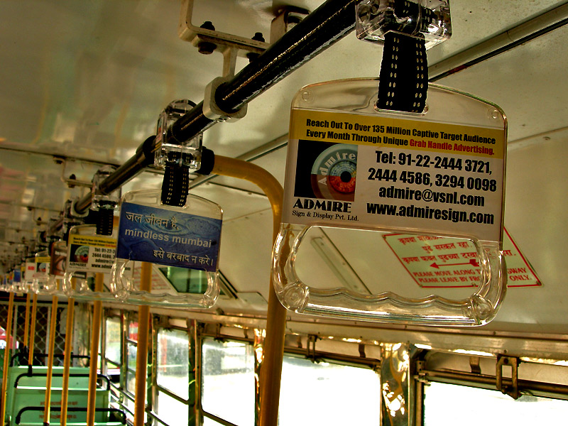 advertisements on handles of best buses in mumbai by kunal bhatia