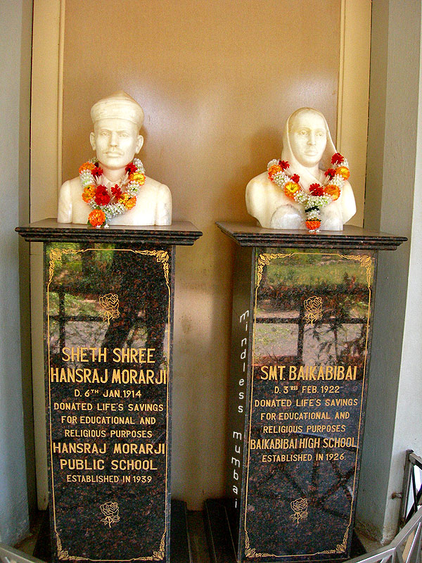 seth hansraj morarji and bai kabibai statues in hmps school campus by kunal bhatia