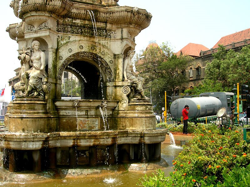 flora fountain mumbai being refilled, by kunal bhatia