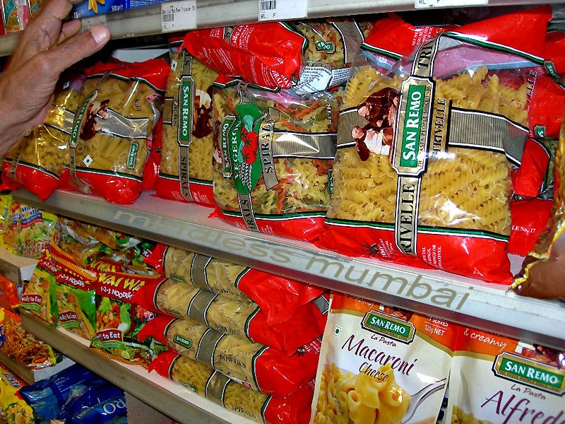 pasta packets in a super market in mumbai