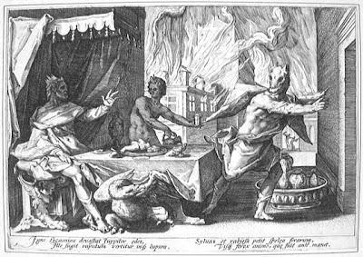 Lycaon. Gravura de Hendrik Goltzius (1558-1617) para  As  Metamorfoses  de Ovídeo, livro I, 209 e seguintes.