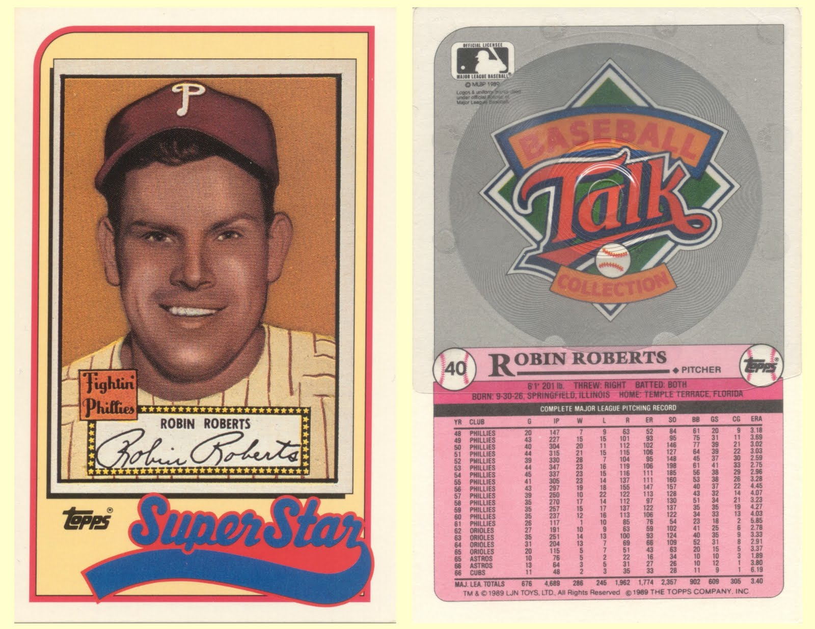 The Phillies Room 1989 Topps Baseball Talk 40 Robin Roberts