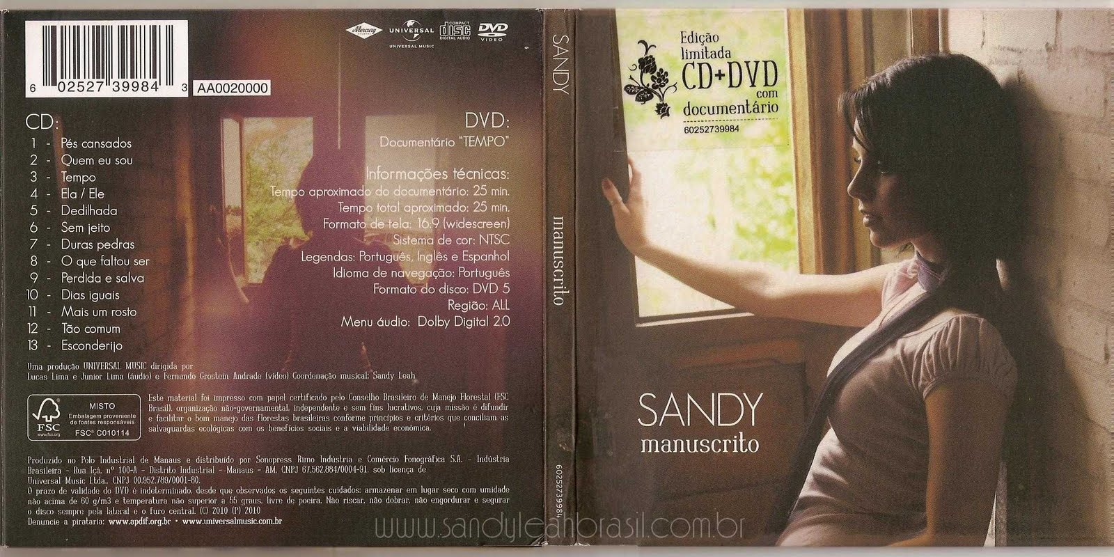 cd de sandy manuscrito ao vivo
