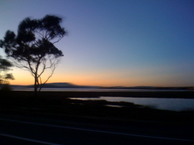 evening photograph of San Francisco Bay at dusk from a moving car, photograph by A.E. Graves