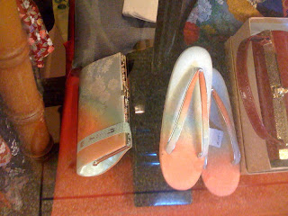 Matching Japanese style purse and shoes in a kimono shop