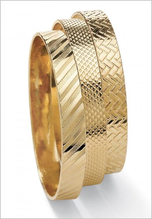 Set Of Three Gold Bangle Bracelets Ideas For S