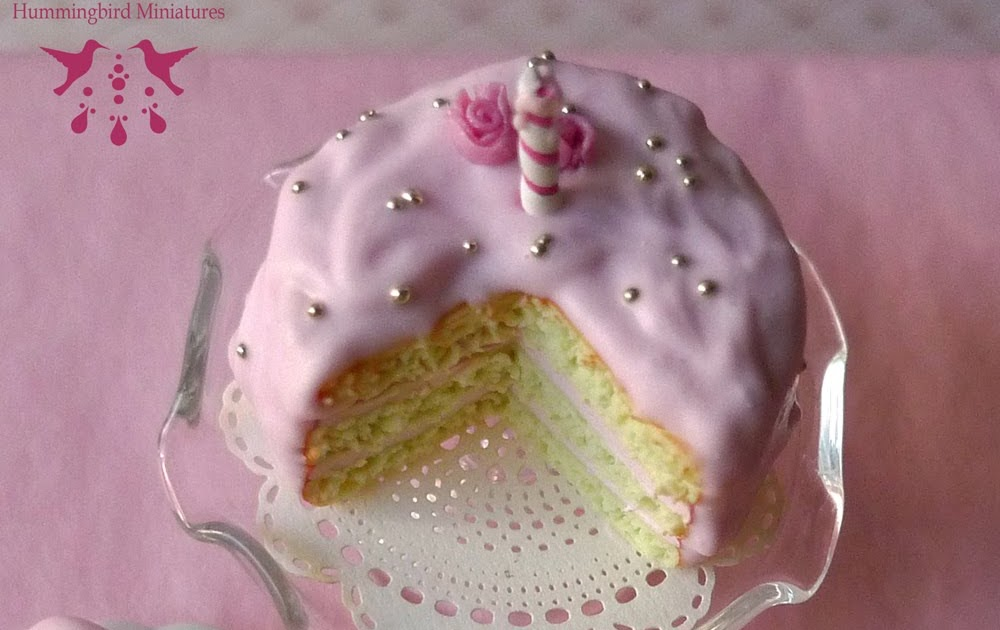 Hummingbird Miniatures Pink Rosebud Birthday Cake