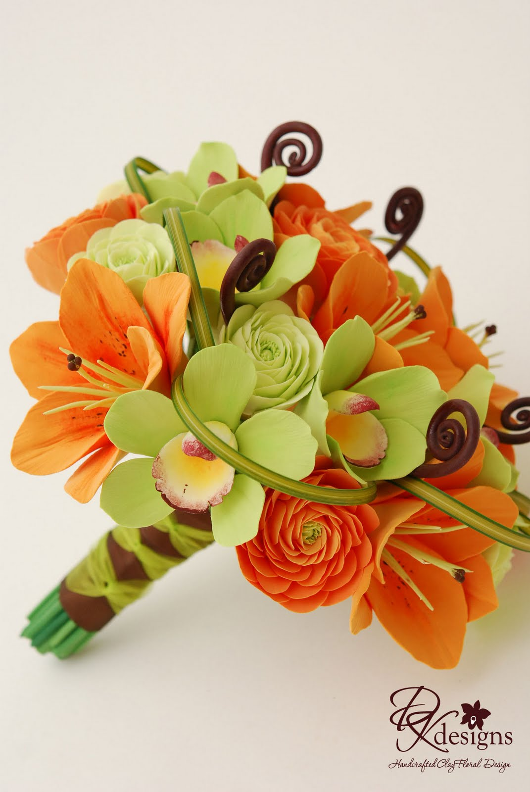 Green And Brown Living Room Decor: DK Designs: Orange, Green And Brown Bridal Bouquet