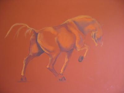 pastel of chestnut horse