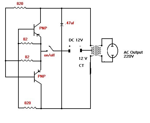 inverter 12V to 220V  Free Electronic Diagram Circuit