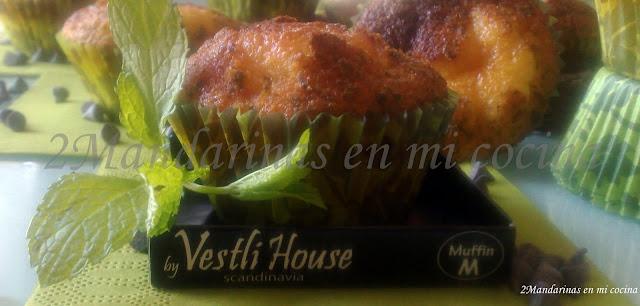 Muffins de hierbabuena con pepitas de chocolate. Sin glúten