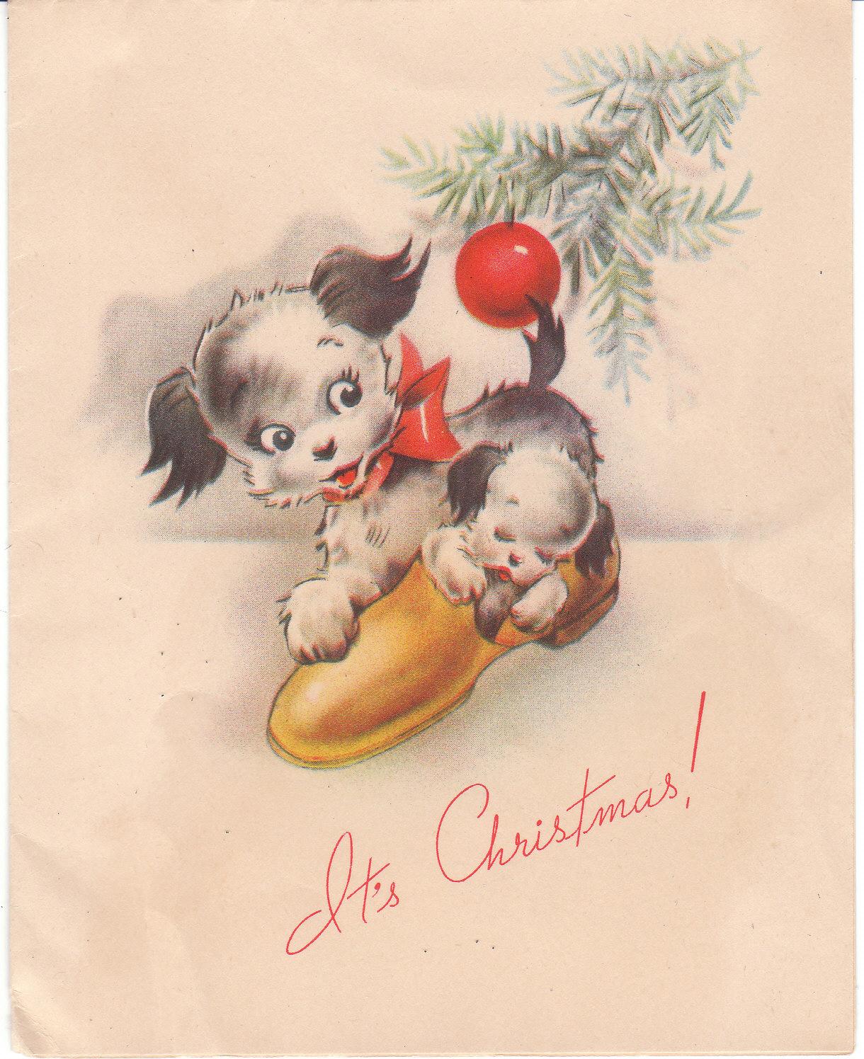 Christmas card vintage terriers