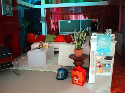 Interior of a modern miniature Kaleidoscope House living room.