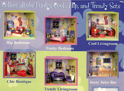 Back of a box for a set of Our Generation modern dolls' house miniatures, showing other sets in the range.