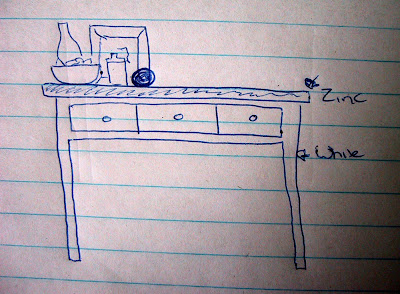 Sketch of a side table showing the base painted white and the top zinc-coloured.